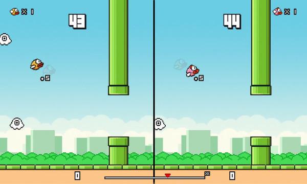 Podemos ver el juego con dos personajes en pantalla partida.