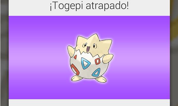 Este será el mensaje que recibas una vez atrapado el Pokémon.