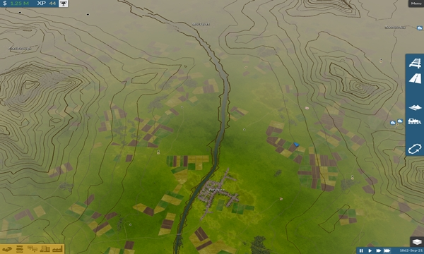 Mapa con lineas de nivel