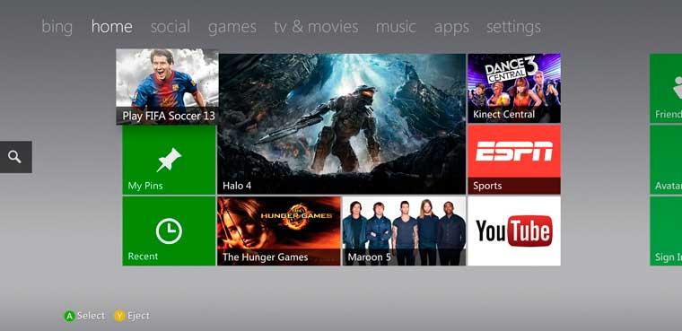 Xbox 360 y su nueva interfaz