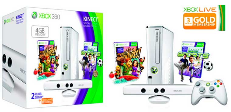 Xbox 360 Edicion Limitada Blanca con Kinect y 4GB